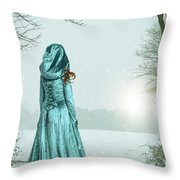 Woman In Snowy Landscape Throw Pillow