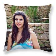 Woman In Spring Garden Throw Pillow