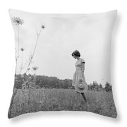 Woman In Summer Meadow, C.1970s Throw Pillow