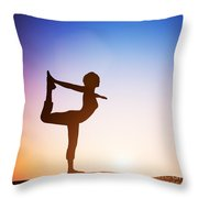 Woman In The Dancer Yoga Pose Meditating At Sunset Throw Pillow