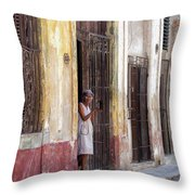 Woman In The Door Throw Pillow