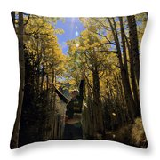 Woman In The Falling Leaves Throw Pillow
