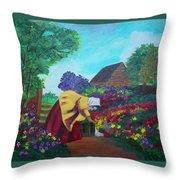 Woman In The Garden Throw Pillow