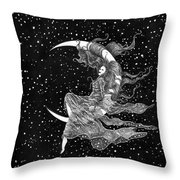 Woman In The Moon Throw Pillow