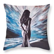 Woman In The Moonlight Throw Pillow