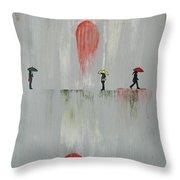 Woman In The Rain Throw Pillow