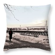 Woman In The Snow Throw Pillow