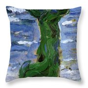 Woman In The Wind By The Sea 1907 Throw Pillow
