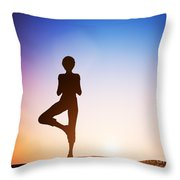Woman In Tree Yoga Pose Meditating At Sunset Throw Pillow