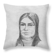 Woman In Turtle Neck Sweater Throw Pillow