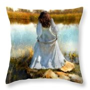 Woman In Victorian Dress By Water Throw Pillow