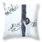 Woman In White Dress Hugging A Tree Throw Pillow