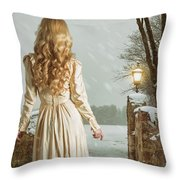 Woman In Winter Scene Throw Pillow