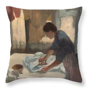 Woman Ironing Throw Pillow