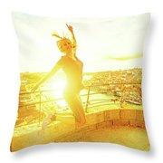 Woman Jumping At Oporto Throw Pillow