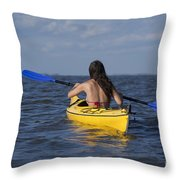 Woman Kayaking Throw Pillow