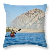 Woman Kayaking In Morro Bay Throw Pillow by Bill Brennan - Printscapes