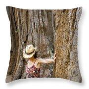 Woman Leaning On Giant Sequoia Tree Throw Pillow