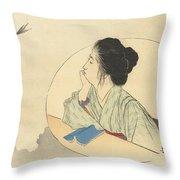 Woman Looking At A Bird Throw Pillow