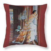 Woman Looking Out Of A Window Throw Pillow