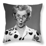 Woman Looking Over Her Glasses Throw Pillow