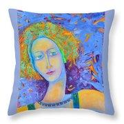 Woman Oil Portrait  Throw Pillow