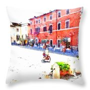 Woman On A Bicycle Throw Pillow