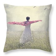 Woman On A Lawn Throw Pillow