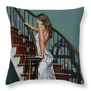 Woman On A Staircase 3 Throw Pillow