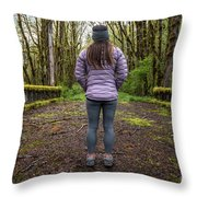 Woman On An Old Moss Covered Bridge In Olympic National Park Throw Pillow