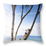 Woman On Holiday Throw Pillow