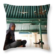 Woman On Mosque Throw Pillow