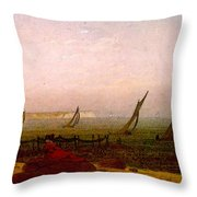 Woman On The Beach Of Rugen  Throw Pillow