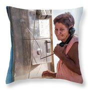Woman On The Phone Throw Pillow