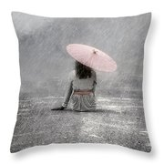 Woman On The Street Throw Pillow