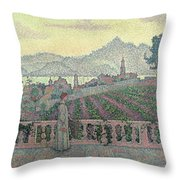 Woman On The Terrace Throw Pillow