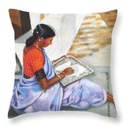 Woman Picking Rice Throw Pillow