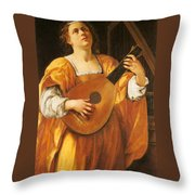 Woman Playing A Lute Throw Pillow