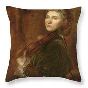 Woman Playing Violin Throw Pillow