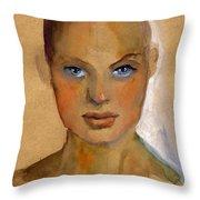 Woman Portrait Sketch Throw Pillow