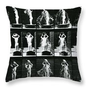 Woman Pouring A Basin Of Water Over Her Head Throw Pillow