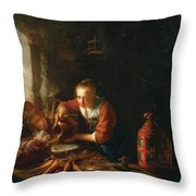 Woman Pouring Water Into A Jar Throw Pillow