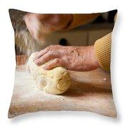 Woman Preparing Dough For Kopytka Throw Pillow