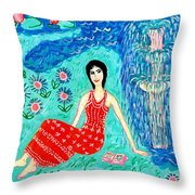 Woman Reading Beside Fountain Throw Pillow