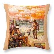Woman Reading On The Beach Throw Pillow