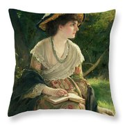 Woman Reading Throw Pillow