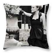 Woman Relaxing In Garden Throw Pillow