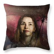 Woman Resilient In Storm Through Positive Thinking Throw Pillow