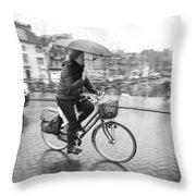 Woman Riding In The Raing Throw Pillow