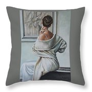 Woman Sat In A Gallery Throw Pillow